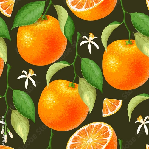 Bezszwowy wzór z pomarańcze