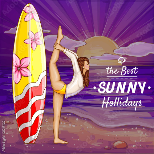 Spoed Foto op Canvas Violet Vector pop art surfing girl on holidays doing yoga on the sand beach. Background with flexible woman in bikini, swimsuit with surf board near of summer ocean. Vacation concept, poster for season sale