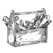 Wooden Tool Box. Sketch. Engraving Style. Vector Illustration.