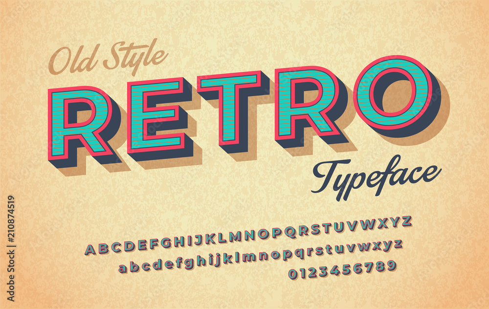 Fototapety, obrazy: Colorful italic retro font and alphabet 80s, 90s.