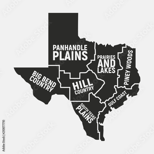Texas map of regions. Texas US state icon. Poster map. Vector ...
