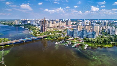 Foto op Plexiglas Kiev Aerial view of the Dnieper river with its left bank in Kiev, Ukraine