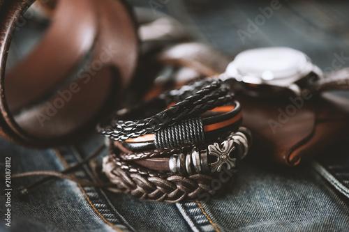 leather bracelets for men Fototapet