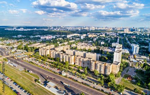 In de dag Centraal Europa Birds eye view of Voskresenka district of Kiev, Ukraine