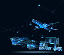 Global Business Connection Technology Interface Global Partner Connection Of Container Cargo Freight Train. Banner. Abstract Low Poly Vector