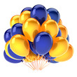 canvas print picture balloons party yellow blue colorful. helium balloon bunch birthday decoration glossy, carnival celebration background. 3d illustration