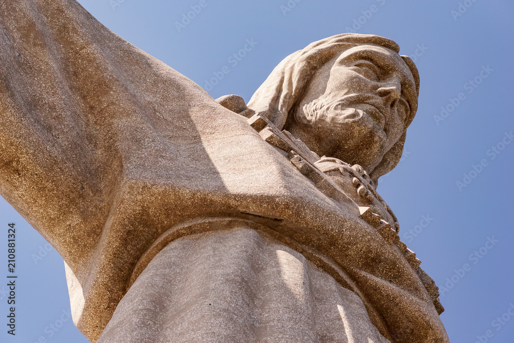 Fotografia, Obraz  Statue Cristo Rei in lisbon - close-up of face.