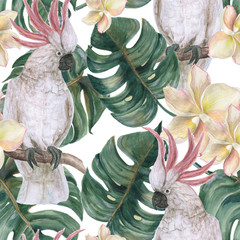 Watercolor painting seamless pattern with tropical deliciosa leaves, plumeria...