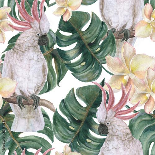 Naklejka premium Akwarela malarstwo bezszwowe wzór z liści tropikalnych deliciosa, kwiatów plumeria i kakadu
