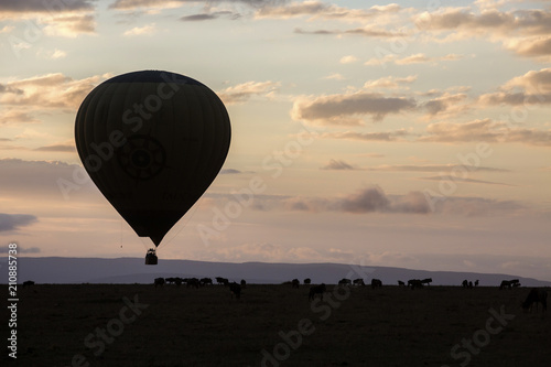 Tuinposter Ballon Hot air balloon flying at sunset