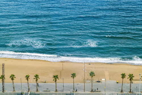 Deurstickers Strand Beach with palm trees, Barcelona, Catalonia, Spain