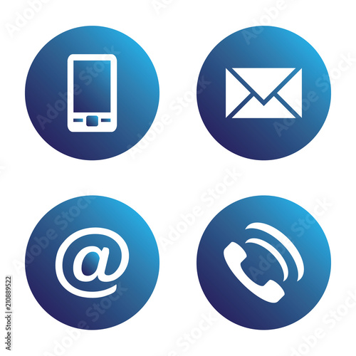Vector icon set: blue spherical communication icons - mobile phone