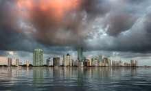Dawn View Of Miami Skyline Ref...