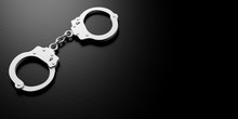 Metal Handcuffs Isolated On Black Background, 3d Illustration