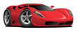 Red European Style Sports-Car Cartoon Isolated Vector Illustration, classic styling, cool low stance
