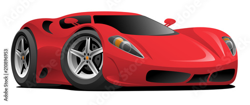 Foto op Canvas Cartoon cars Red European Style Sports-Car Cartoon Vector Illustration