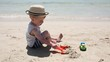 Little child playing in sand at the sea beach with toys. Happy kid boy having fun with sandy toys while his family relax at summer vacation