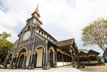Exterior Of Ancient Catholic Wooden Church In Kon Tum, Vietnam, Asia.