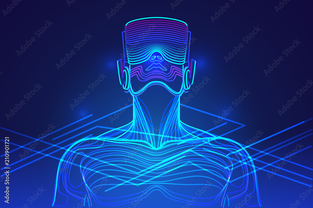 Fototapeta Person wearing virtual reality glasses. Abstract vr world with neon lines. Vector illustration