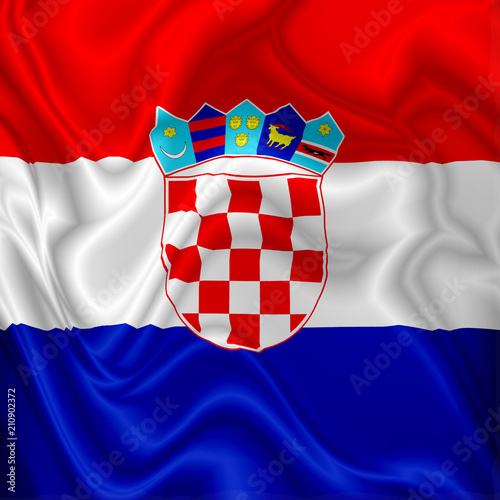 Tuinposter Draw Croatia Flag Waving Digital Silk Fabric