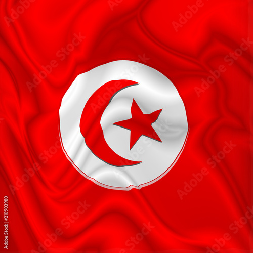 Keuken foto achterwand Draw Tunisia Flag Waving Digital Silk Satin Fabric