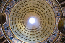 Dome And Interior View Of Pantheon With Fish Eye Lens Wide Angle Panorama
