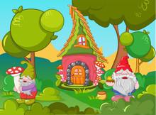 Home Gnome Concept Banner. Cartoon Illustration Of Home Gnome Vector Concept Banner For Web Design