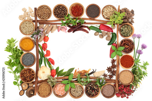 Foto op Canvas Kruiderij Fresh and dried herb and spice abstract background border with cinnamon sticks forming a frame on white. Top view with copy space.