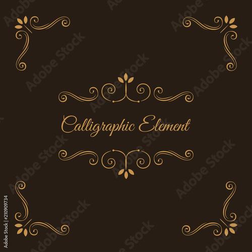 Calligraphic Elements Decorative Corners Ornate Frame Filigree