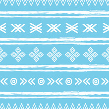 Blue And White Ikat Tribal Sea...
