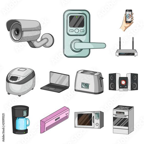 Valokuvatapetti Smart home appliances cartoon icons in set collection for design