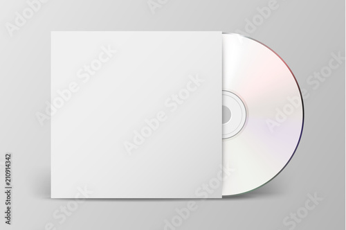Obraz Vector realistic 3d white cd with cover icon isolated. Design template of packaging mockup for graphics. Front view - fototapety do salonu