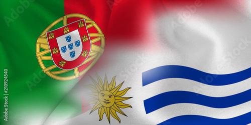 Foto  ポルトガル ウルグアイ  国旗 サッカー