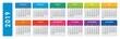 2019 calendar. Horizontal calendar template on isolated white background. Editable vector file available.