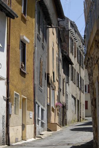 Poster Smal steegje Ruelle étroite de la Ville de Cransac les Thermes, Aveyron, France