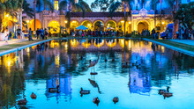 Long Exposure Of Colourful Building With Reflection In Water. Balboa Park, San Diego, California. USA.