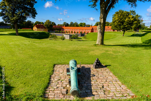 Photo Canon in Kastellet, Copenhagen, Denmark, is one of the star fortresses in Northe