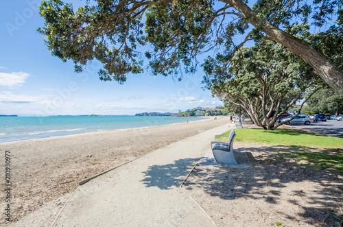 Canvas Print Mission Bay is a beautiful white-sand beach which is located at Auckland,New Zea