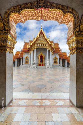 Recess Fitting Bangkok The Arch at the Marble Temple, Wat Benchamabophit, Bangkok, Thailand. Famous Tourist Destination. Portrait Oreintation.