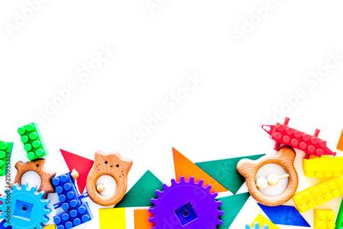 Educational Toys For Children Mockup Plastic Lego Blocks And Clacks On White Background Top View Copy E