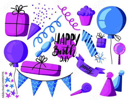 Staande foto Kasteel Set of cartoon birthday party element in pink purple and blue colors