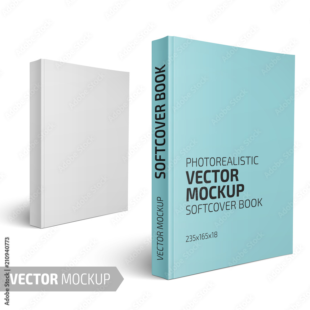 Fototapeta Blank vertical softcover book template.