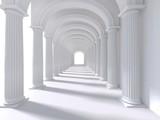 Fototapeta Perspektywa 3d - Long corridor interior. 3D Rendering. illustration