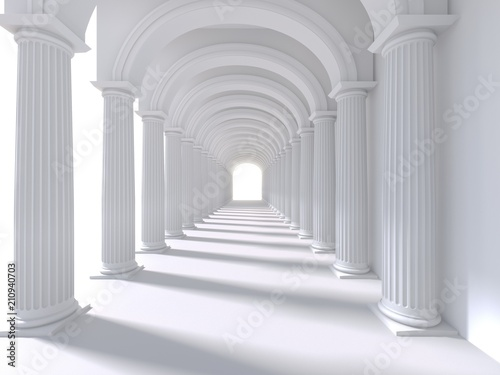 Stampa su Tela Long corridor interior. 3D Rendering. illustration