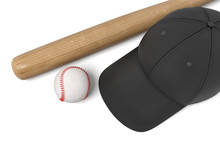 3d Rendering Of A White Baseball With Red Stitching, Black Baseball Cap And Wooden Bat On White Background.