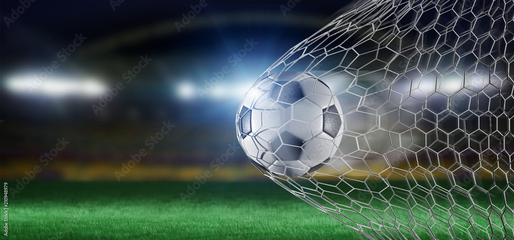 Fototapeta Football ball in the net of a goal - 3d rendering