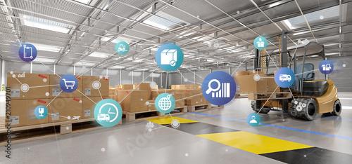 Fotografía  Logistic organisation on a warehouse background 3d rendering