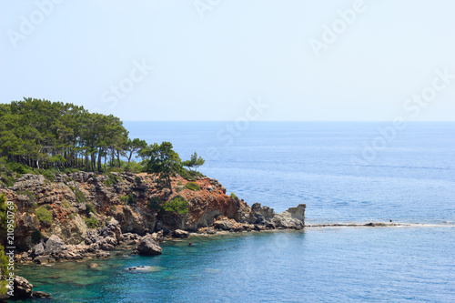 Tuinposter Kust Rocky sea coast covered by pines in Kemer, Antalya, Turkey