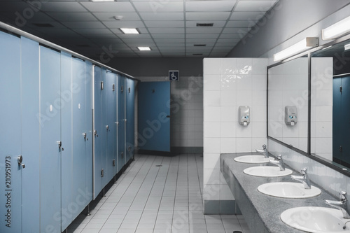 Fotografie, Tablou Public toilet and Bathroom interior with wash basin and toilet room