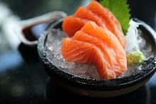 Salmon Sashimi On Ice Japanese...